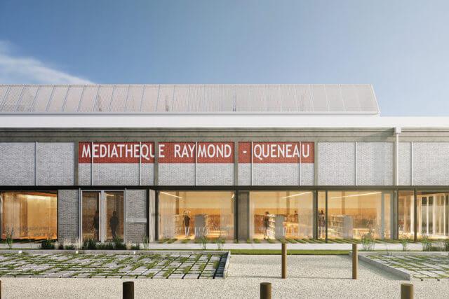 Démarrage du chantier de la nouvelle Médiathèque Raymond Queneau à Ris-Orangis (91) dans la Halle Freyssinet