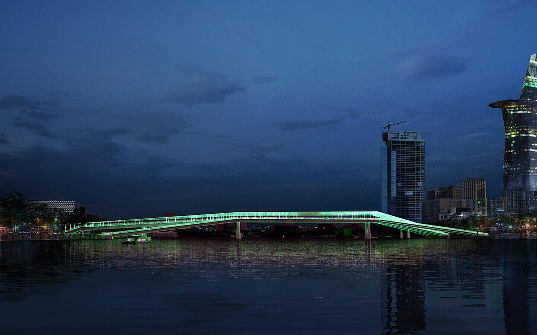 Passerelles pietonnes sur la riviere Saigon