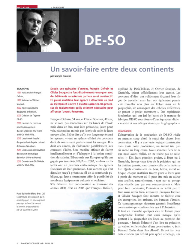 DE-SO dans le magazine d'A